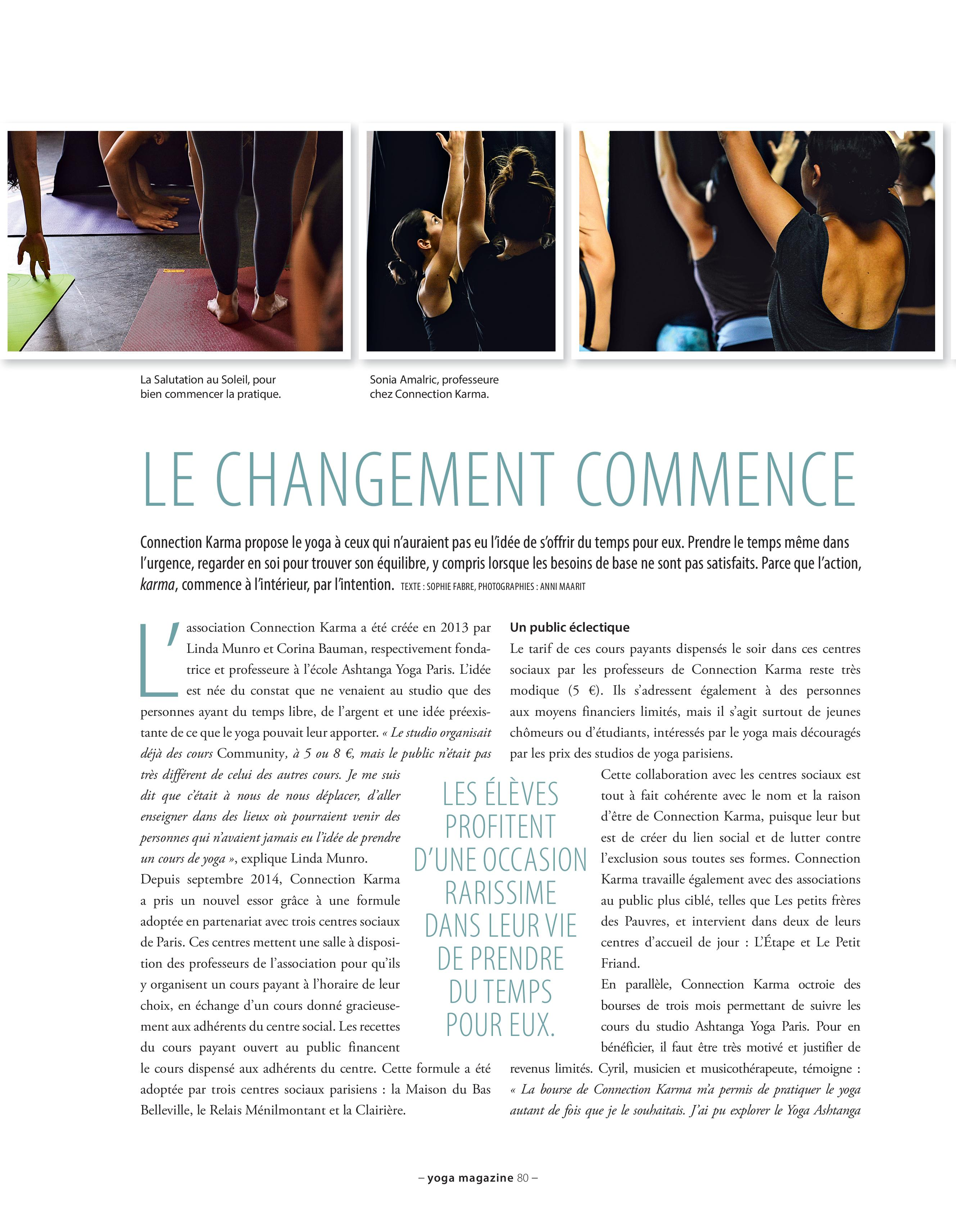 Article de Connection Karma dans Yoga Magazine
